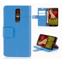 Housse etui coque portefeuille pour LG G2 + film ecran - BLEU