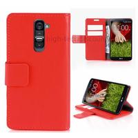Housse etui coque portefeuille pour LG G2 + film ecran - ROUGE