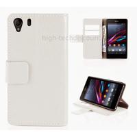 Housse etui coque portefeuille pour Sony Xperia Z1 + film ecran - BLANC
