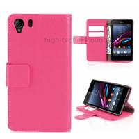 Housse etui coque portefeuille pour Sony Xperia Z1 + film ecran - ROSE