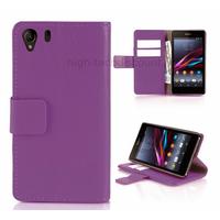 Housse etui coque portefeuille pour Sony Xperia Z1 + film ecran - MAUVE