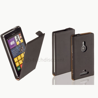 Housse etui coque pochette PU cuir fine pour Nokia Lumia 925 + film ecran - NOIR