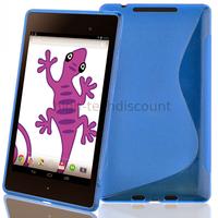 Housse etui coque silicone gel pour Google Nexus 7 2013 (version 2) + film ecran - BLEU