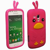 Housse etui coque silicone pour Samsung s7560 Galaxy Trend + film ecran - OISEAU ROSE