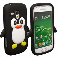 Housse etui coque silicone pour Samsung s7560 Galaxy Trend + film ecran - PINGOUIN NOIR