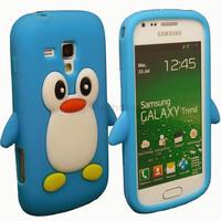 Housse etui coque silicone pour Samsung s7560 Galaxy Trend + film ecran - PINGOUIN BLEU