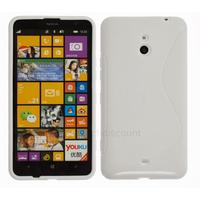 Housse etui coque pochette silicone gel pour Nokia Lumia 1320 + film ecran - BLANC