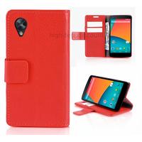 Housse etui coque pochette portefeuille pour Google Nexus 5 + film ecran - ROUGE