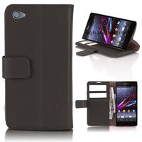 Housse etui coque pochette portefeuille PU cuir pour Sony Xperia Z1 Compact + film ecran - NOIR