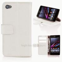 Housse etui coque pochette portefeuille PU cuir pour Sony Xperia Z1 Compact + film ecran - BLANC