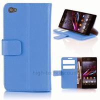 Housse etui coque pochette portefeuille PU cuir pour Sony Xperia Z1 Compact + film ecran - BLEU