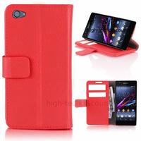 Housse etui coque pochette portefeuille PU cuir pour Sony Xperia Z1 Compact + film ecran - ROUGE