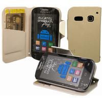 Housse etui coque portefeuille pour Alcatel One Touch Pop C3 4033D + film ecran - BLANC