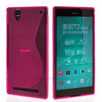 Housse etui coque silicone pochette gel fine pour Sony Xperia T2 Ultra + film ecran - ROSE