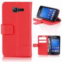 Housse etui coque portefeuille PU cuir pour Samsung s7390 Galaxy Trend Lite + film ecran - ROUGE