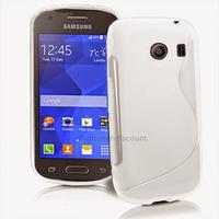 Housse etui coque silicone gel fine pour Samsung g310 Galaxy Ace Style + film ecran - BLANC