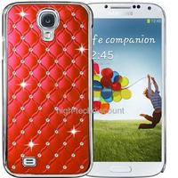 Housse etui coque chrome rigide pour Samsung i9500 i9505 Galaxy s4 IV + film ecran - ROUGE