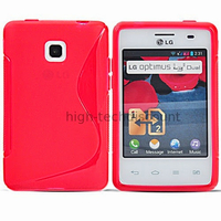 Housse etui coque pochette silicone gel pour LG Optimus L3 II 2 e430 + film ecran - ROUGE
