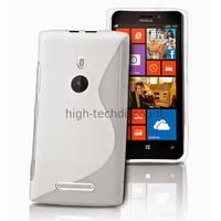 Housse etui coque pochette silicone gel pour Nokia Lumia 925 + film ecran - BLANC