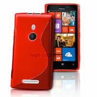 Housse etui coque pochette silicone gel pour Nokia Lumia 925 + film ecran - ROUGE