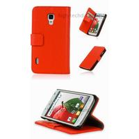 Housse etui coque portefeuille pour LG Optimus L7 II 2 P710 + film ecran - ROUGE