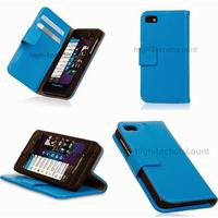 Housse etui coque portefeuille pour Blackberry Z10 + film ecran - BLEU
