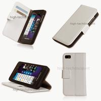 Housse etui coque portefeuille pour Blackberry Z10 + film ecran - BLANC