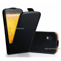 Housse etui coque cuir NOIR pour LG Google Nexus 4 + film ecran