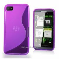 Housse etui coque silicone gel MAUVE pour Blackberry Z10 + film ecran