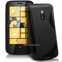 Housse etui coque silicone gel NOIR pour Nokia Lumia 620 + film ecran