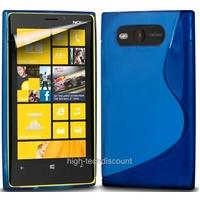 Housse etui coque silicone gel BLEU pour Nokia Lumia 820 + film ecran
