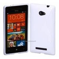 Housse etui coque silicone gel BLANC pour Windows Phone 8S by HTC + film ecran