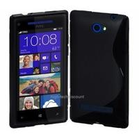 Housse etui coque silicone gel NOIR pour Windows Phone 8S by HTC + film ecran