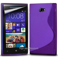 Housse etui coque silicone gel MAUVE pour Windows Phone 8X by HTC + film ecran