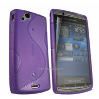 Housse etui coque silicone gel MAUVE pour Sony Ericsson Xperia Arc / Arc S + film ecran