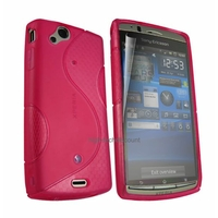 Housse etui coque silicone gel ROSE pour Sony Ericsson Xperia Arc / Arc S + film ecran