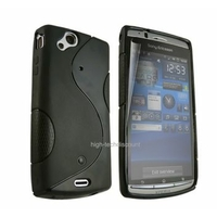 Housse etui coque silicone gel NOIR pour Sony Ericsson Xperia Arc / Arc S + film ecran