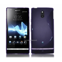 Housse etui coque silicone gel MAUVE pour Sony Xperia P + film ecran