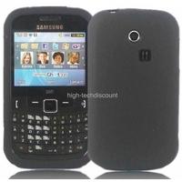 Housse etui coque silicone gel NOIR pour Samsung s3350 Chat 335 + film ecran