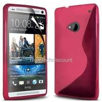 Housse etui coque silicone gel ROSE pour HTC One (M7) + film ecran