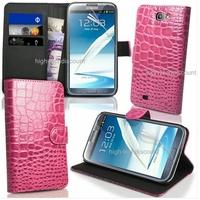 Housse etui coque portefeuille crocodile ROSE pour Samsung n7100 Galaxy Note 2 + film ecran