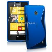 Housse etui coque silicone gel BLEU pour Nokia Lumia 520 + film ecran