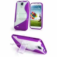 Housse etui coque gel support MAUVE pour Samsung i9500 i9505 Galaxy s4 IV + film ecran