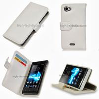 Housse etui coque portefeuille pour Sony Xperia J + film ecran - BLANC