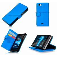 Housse etui coque portefeuille pour Sony Xperia J + film ecran - BLEU