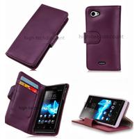 Housse etui coque portefeuille pour Sony Xperia J + film ecran - MAUVE