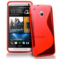 Housse etui coque pochette silicone gel pour HTC One Mini (M4) + film ecran - ROUGE