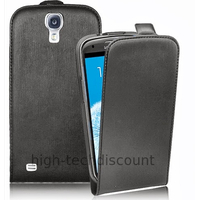 Housse etui coque cuir fine pour Samsung i9500 i9505 Galaxy S4 IV + film ecran - NOIR