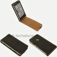 Housse etui coque pochette cuir fine pour Nokia Lumia 520 + film ecran - NOIR