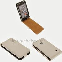 Housse etui coque pochette cuir fine pour Nokia Lumia 520 + film ecran - BLANC